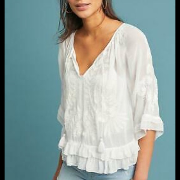 Anthropologie Tops - Akemi + Kin long sleeve embroidered blouse